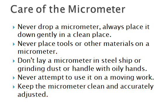 care of a micrometer