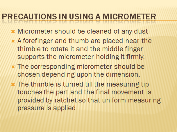 precautions of micrometer